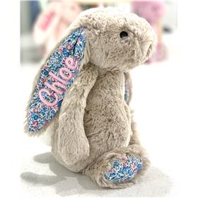 Personalised Beige Blossom Jellycat Bunny with pastel pink embroidery