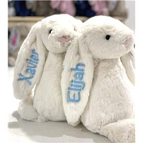 Cream Blossom Jellycat bunny with pastel blue personalised embroidery
