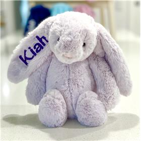 lavender jelllycat bunny with deep purple embroidery
