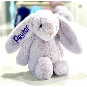 Lavender Jellycat bashful bunny with deep purple embroidery