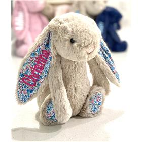Jellycat bunny personalised Beige Blossom with hot pink embroidery