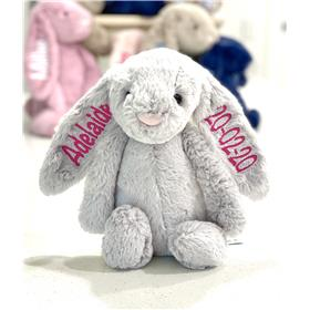 Personalised Jellycat Bunny silver blossom with hot pink embroidery