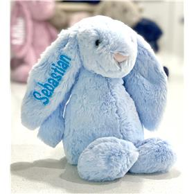 Blue Jellycat Blossom Bunny Personalised with aqua embroidery