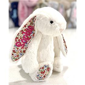 Cream Blossom Jellycat Bunny with hot pink embroidery