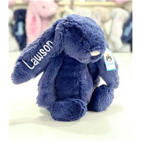 Navy Jellycat Bunny with silver Grey Personalisation
