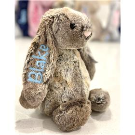 Cottontail personaised cottontail bunny with pale blue embroidery
