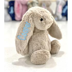 Personalised Jellycat Bunny, Beige with pastel blue Embroidery
