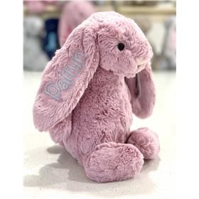 Tulip Jellycat Bashful Bunny with silver grey embroidery