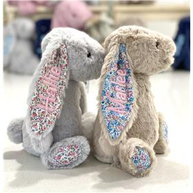 Jellycats, Silver blossom and beige blossom, both with pastel pink embroidery