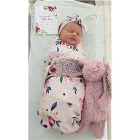 Little Isla, brand new, with her tulip blossom Jellycat bunny with lilac embroidery
