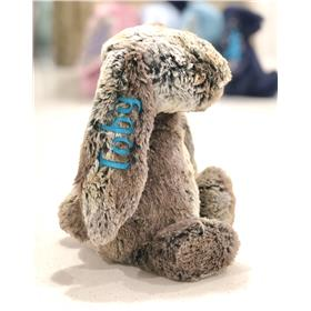 Cottontail Jellycat Bunny with aqua embroidery