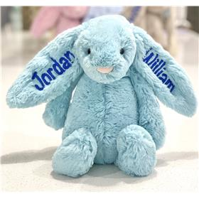 Aqua Jellycat bunny personalised with royal blue embroidery on ears
