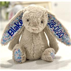 Personalised Beige Blossom Jellycat bunny with royal blue embroidery on both ears
