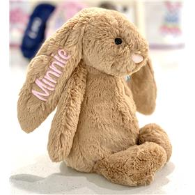 Biscuit Jellycat Bunny, personalised in pastel pink for Minnie