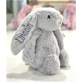 Silver Jellycat bunny with silver text.  Stunning!