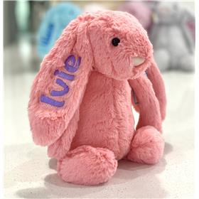 Jellycat bashful bunny Coral with licac embroidery for Ivie