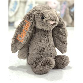 Personalised Jellycat Bashful bunny Truffle with orange embroidery