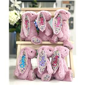 Jellyca bashful bunnies in tulip pink blossom