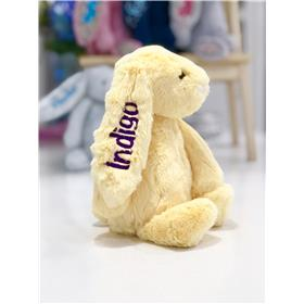 Lemo Jellycat bunny with purple embroidery