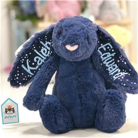 Stardust Jellycat bashful bunny with pale blue embroidery