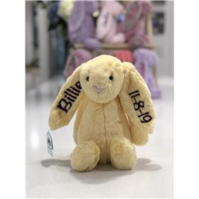 Lemon Jellycat bunny with black embroidery