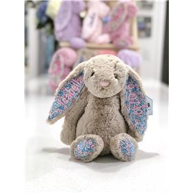 Beige Blossom Jellycat bunny with pale pink embroidery