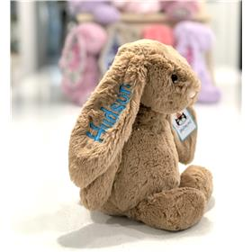 Biscuit Bashful bunny jellycat with Aqua embroidery