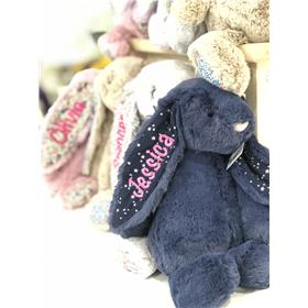 A range of personalised Jellycat bunnies