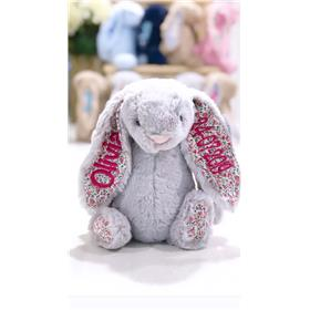 Silver blossom jellycat bunny hot pink text