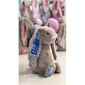 beige blossom Jellycat embroidery with Royal blue personalisation
