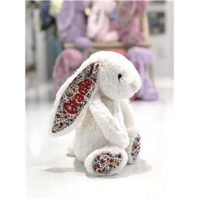 Cream blossom jellycat bunny, personalised with red embroidery