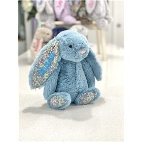 Jellycat Bashful Bunny Aqua Blossom with Aqua Embroidery