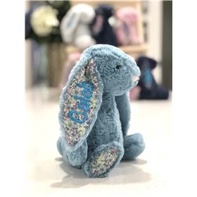 Aqua Blossom Jellycat bunny with aqua embroidery