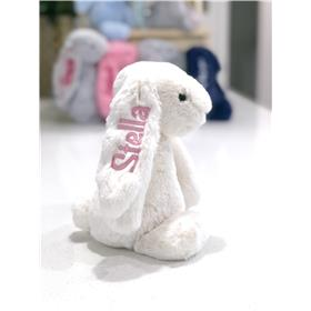 Cream Jellycat bunny with pale pink embroidery