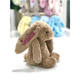 Jellycat bashful bunny in biscuit with hot pink embroidery