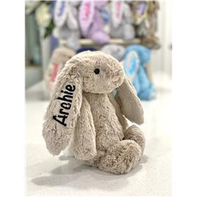 Beige Bunny personalised with black embroidery