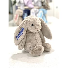 Jellycat bashful bunny- beige with royal blue name embroidery