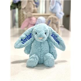 Aqua jellycat bunny wit royal blue embroidery