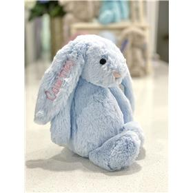 Blue Jellycat bunny with pale pink personalised embroidery