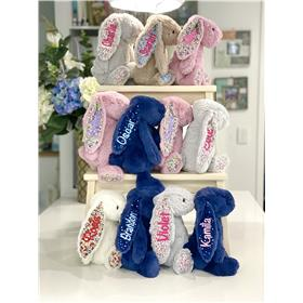 A variety of Jellycat Bunnies Personalised in a range of colours