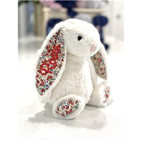 Cream Blossom Jellycat bunny with Red personalised embroidery