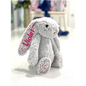 Silver Blossom Jellycat bunny with hot pink embroidery