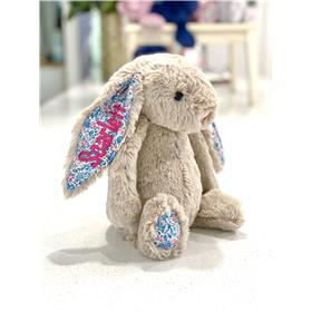 Tulip blossom Jellycat bunny with hot pink embroidery