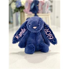 Stardust Jellycat Bunny with pale pink personalisation