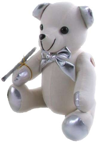 Silver+teddy+bear+for+autographs+and+signatures+for+graduation+gifts