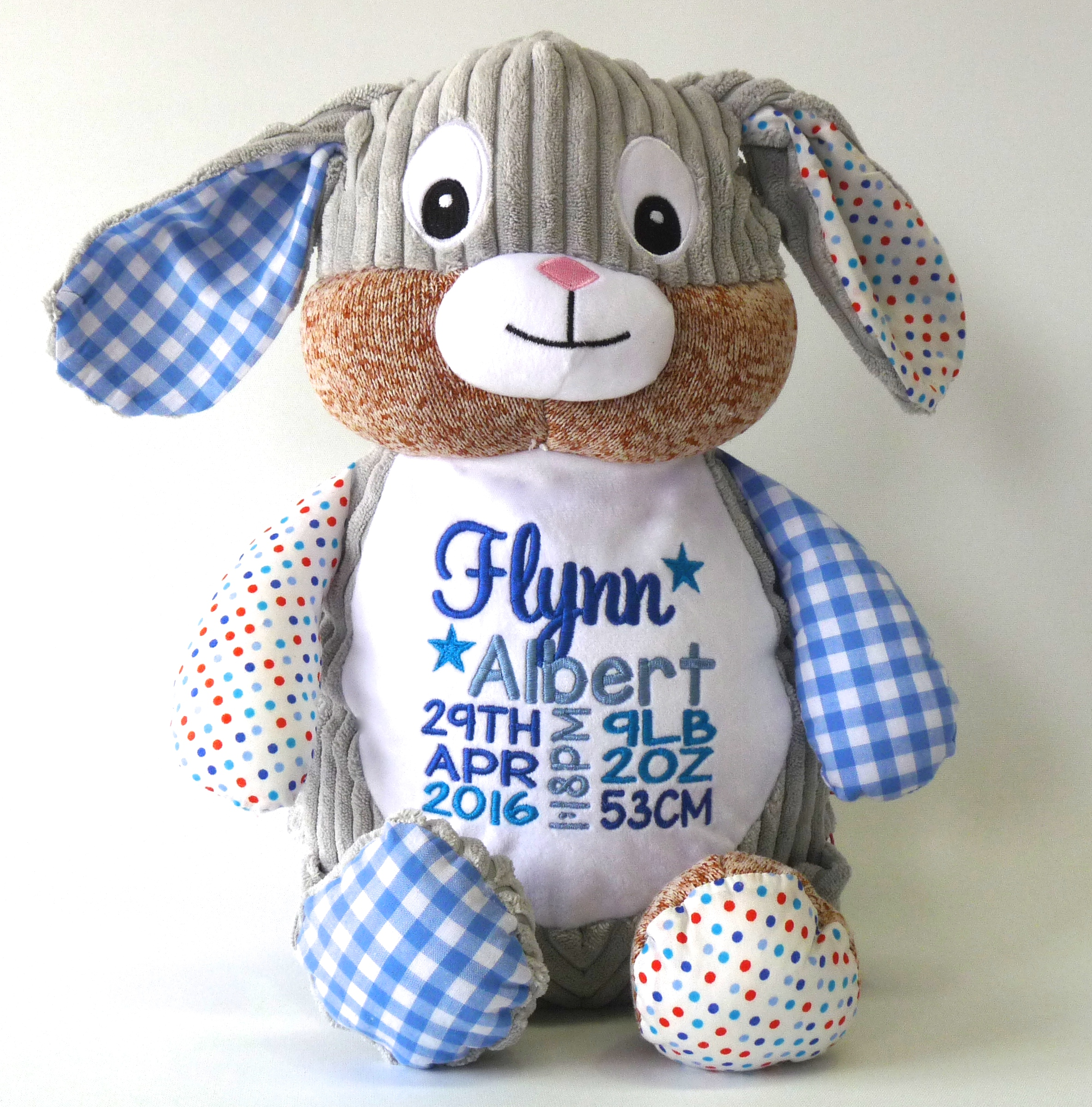 This+is+an+image+of+a+Blue+Patchwork+Bunny+personalised+Baby+Gift+from+My+Teddy