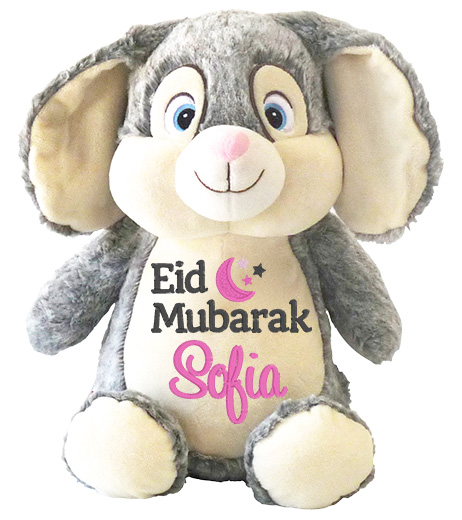 This+is+an+image+of+a+Grey+Bunny+Eid+Mubarak+Wishes+from+My+Teddy