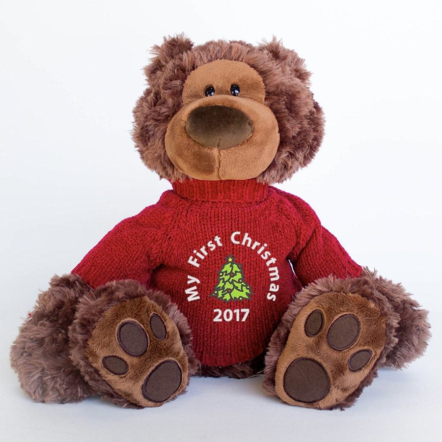 Personalised+Charlie+Teddy+Bear+for+first+Christmas+Gift