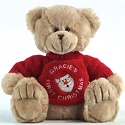 Personalised+First+Christmas+Teddy+Bear+Frankie+Champagne+