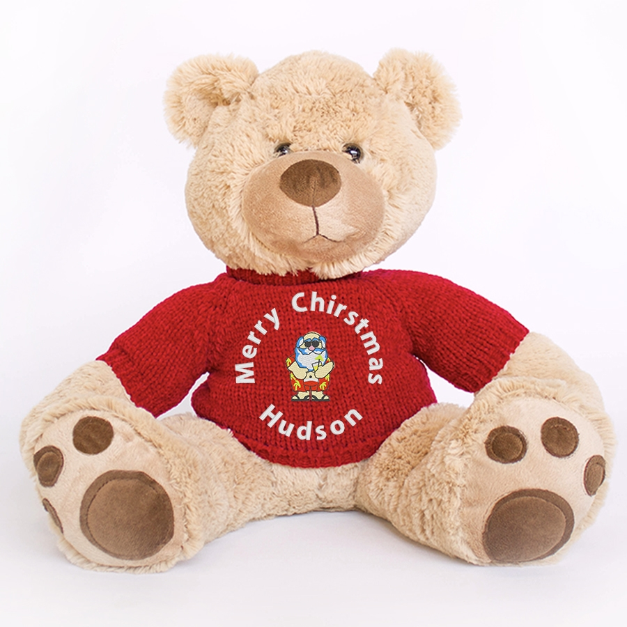 Personalised+Christmas+Teddy+Bear+Mojo+Merry+Christmas+